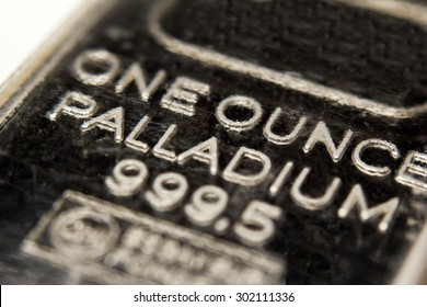 Macro image of a one ounce Palladium bar