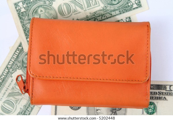 Macro  image of an orange  leather wallet