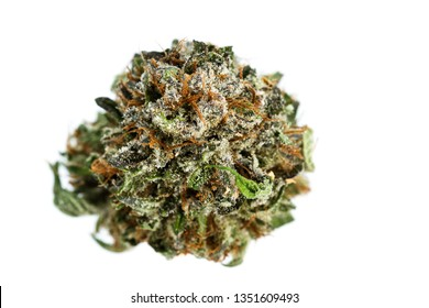 macro image of a popular strain of cannabis known as LDS isolated on a white background.