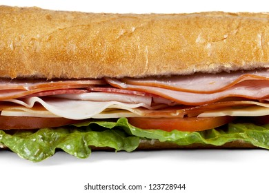 A macro image of a macro submarine sandwich against white background