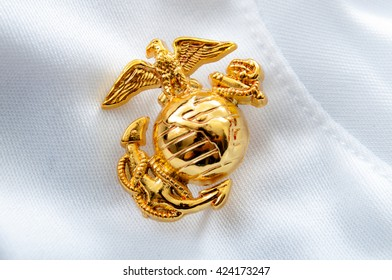 Macro image of the US Marine Corps emblem on a white glove used as background