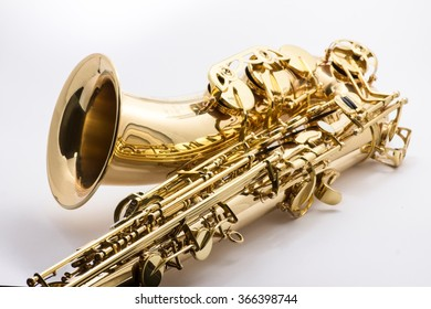 Macro image of the valves and keys of a saxophone.
