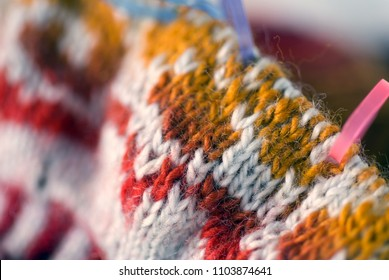 Macro Intarsia Knit Stitches on the Needle