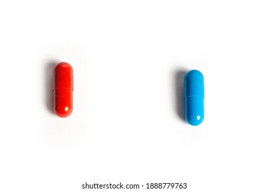 Macro of medicine capsules on white background