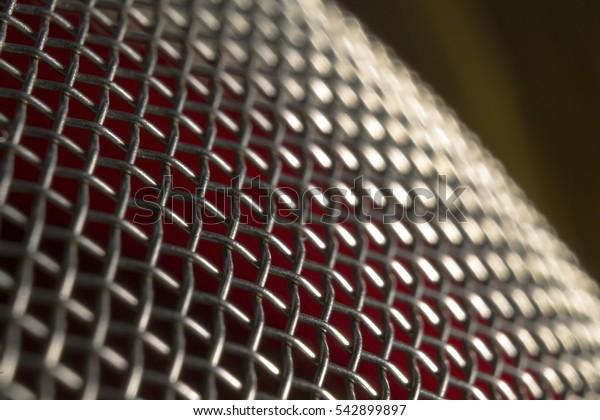 Macro of a metal colander