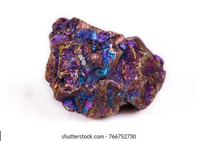 Macro mineral stone Blue Rainbow Titanium Crystal it white background close up