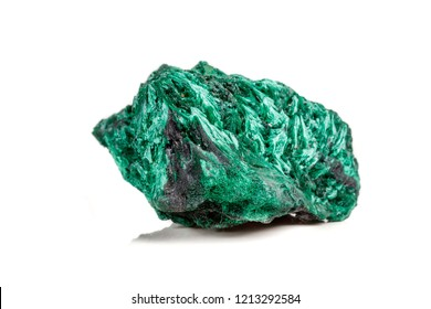 Macro mineral stone plisoviy, plush, satin malachite on a white background close-up