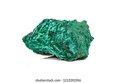 Macro mineral stone plisoviy, plush, satin malachite on a white background close-up