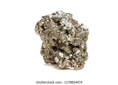 Macro mineral stone Pyrite gold on white background close up
