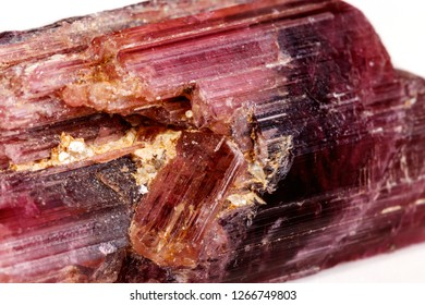 Macro mineral tourmaline stone on white background close up