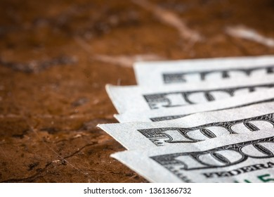 Macro Money American Hundred Dollar Bills With Copy Space