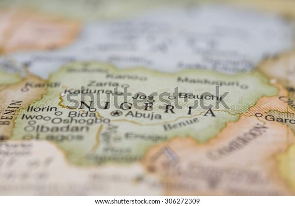 Macro of Nigeria on a globe, narrow depth of field
