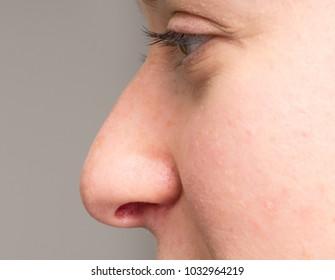 Macro of nose of woman