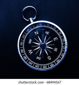 macro of old compass with blank copyspace for text message