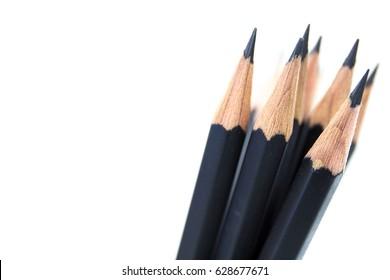 Macro pencil  isolated on white background.
