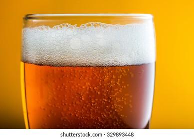 Macro photo of beer glass