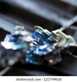 macro photo of bismuth crystal