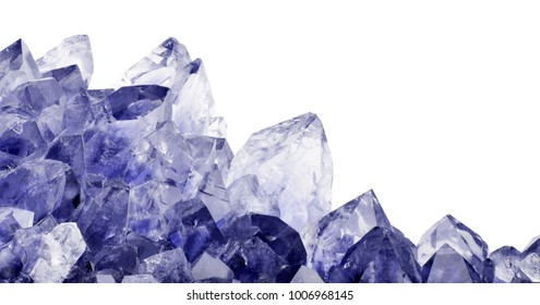 macro photo of blue sapphire crystals isolated on white background