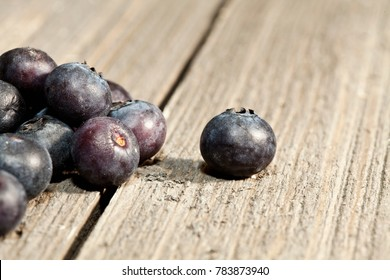 Macro photo of blueberries on barn wood.  Isolated focus with shallow depth of field.