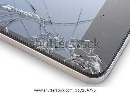 Macro photo of an cell phone with broken display isolated on white