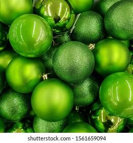 Macro photo Christmas balls. Stock photo green Christmas tree balls ornament decoration