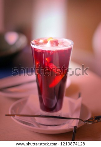 Macro photo of delicious classic mulled wine in a glass in a restaurant