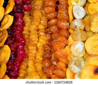 Macro photo of delicious healthy multi-colored bright dried fruit in Armenia