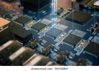 macro photo of electronic circuit. symbol of technology. Close up