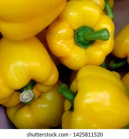 Macro Photo food vegetable yellow gold bell peppers. Texture background fresh big yellow pepper color. Product Image Vegetable Pepper