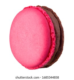 Macro photo of french pink rose macaroon or macaron isolated on white background with clipping path.