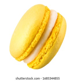 Macro photo of french yellow macaroon isolated on white background, clipping path.