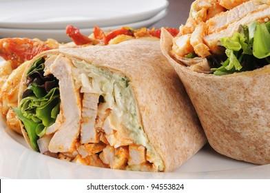 Macro photo of healthy chicken wraps