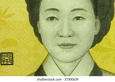 Macro photo of an image of  thousand korean won.