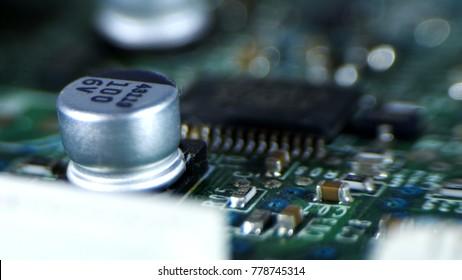 Macro Photo of Intergrated Circuit, Green Board