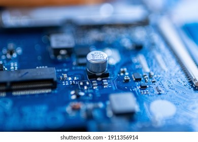 A macro photo of a motherboard