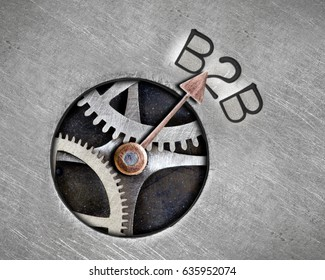 Macro photo of pointer and tooth wheel mechanism with B2B letters imprinted on metal surface