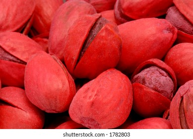 Macro photo of Red Pistachios, salted.