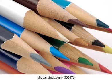 Macro Photo of Sharpened Colored Pencils