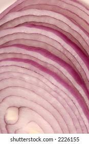 Macro photo of sliced red onion