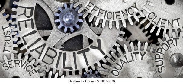 Macro photo of tooth wheel mechanism with RELIABILITY concept related words imprinted on metal surface