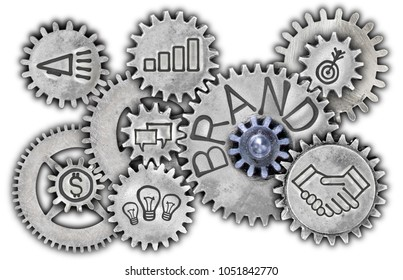 Macro photo of tooth wheel mechanism with BRAND concept related icons imprinted on metal surface isolated on white