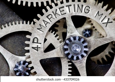 Macro photo of tooth wheel mechanism with 4P MARKETING MIX concept words