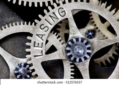 Macro photo of tooth wheel mechanism with LEASING concept letters