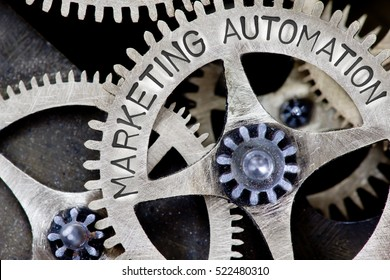 Macro photo of tooth wheel mechanism with MARKETING AUTOMATION concept letters