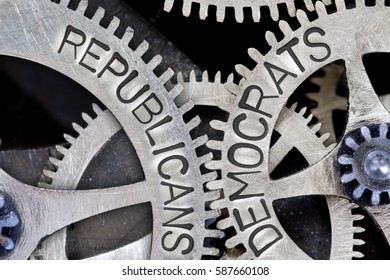 Macro photo of tooth wheel mechanism with imprinted REPUBLICANS, DEMOCRATS concept words
