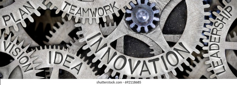 Macro photo of tooth wheel mechanism with INNOVATION, LEADERSHIP, TEAMWORK, IDEA, VISION, PLAN concept letters