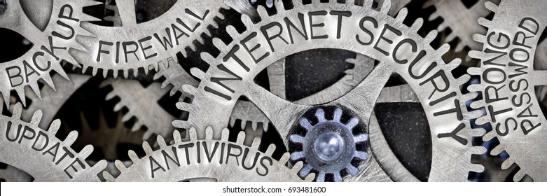 Macro photo of tooth wheel mechanism with INTERNET SECURITY, FIREWALL, ANTIVIRUS, STRONG PASSWORD, BACKUP and UPDATE letters imprinted on metal surface