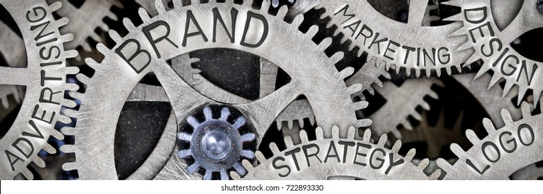 Macro photo of tooth wheel mechanism with BRAND, LOGO, DESIGN, STRATEGY, ADVERTISING and MARKETING concept words