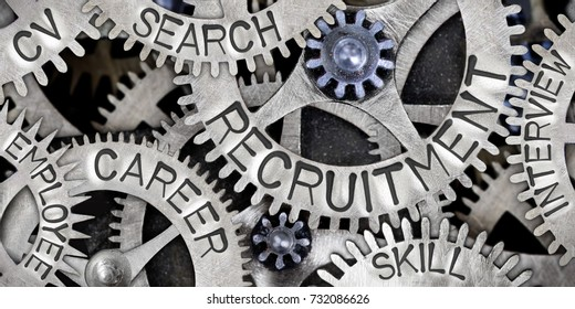 Macro photo of tooth wheel mechanism with RECRUITMENT, CAREER, CV, SEARCH, SKILL, INTERVIEW and EMPLOYEE concept words
