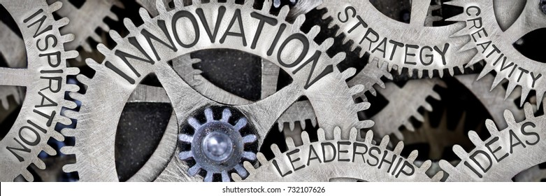Macro photo of tooth wheel mechanism with INNOVATION, CREATIVITY, INSPIRATION, IDEAS, LEADERSHIP and STRATEGY words imprinted on metal surface